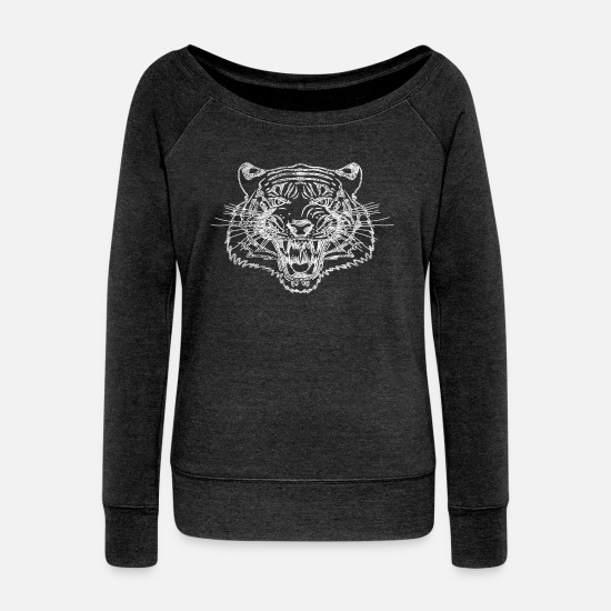 Tiger Shark Long Sleeve Shirts - Biting Tiger Attention - Women's Wide-Neck Sweatshirt heather black