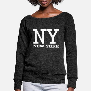 Ny NY New York White - Women's Wide-Neck Sweatshirt