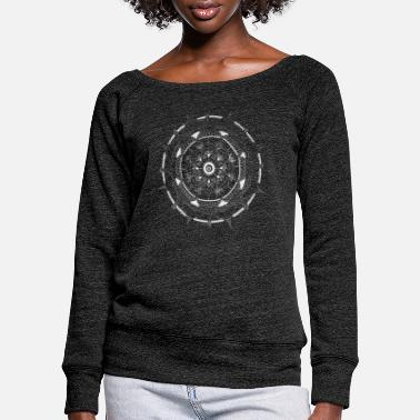 Painted Mandala in white intuitive and hand painted - Women's Wide-Neck Sweatshirt