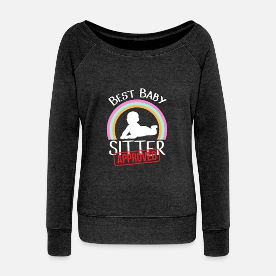 Kindergarten Long Sleeve Shirts - Babysitter childrens kids love watching saying - Women's Wide-Neck Sweatshirt heather black