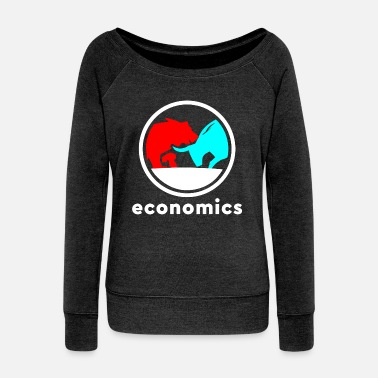 Stock Bull Bear Business Gift Idea - Women's Wide-Neck Sweatshirt