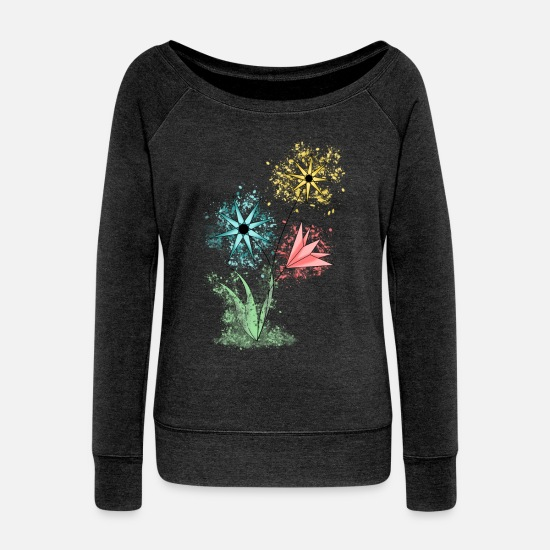 Collection Long Sleeve Shirts - Flowers - Colorful flowers - Women's Wide-Neck Sweatshirt heather black