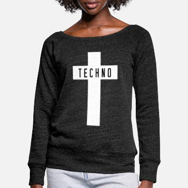 Techno Techno cross - Women's Wide-Neck Sweatshirt