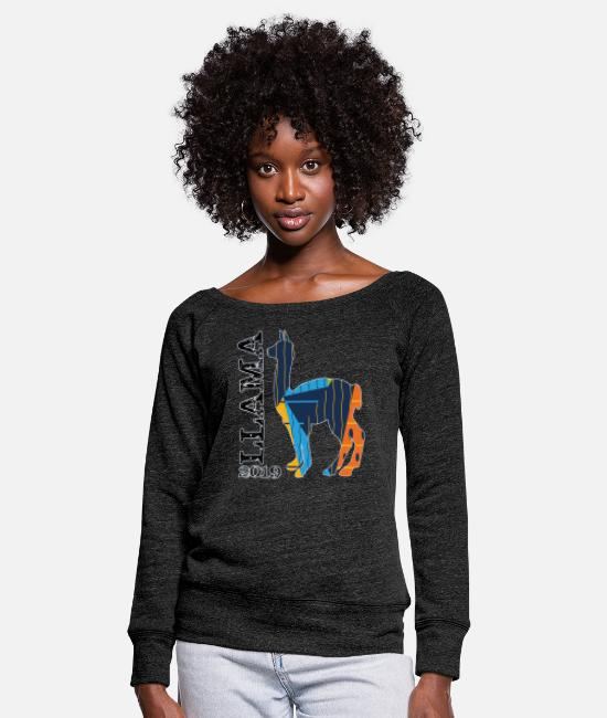 Llama Long sleeve shirts - Llama - Women's Wide-Neck Sweatshirt heather black