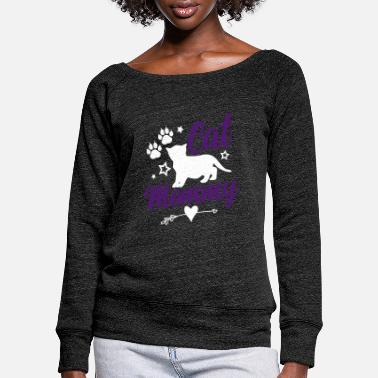 cats mom cat mommy - Women's Wide-Neck Sweatshirt