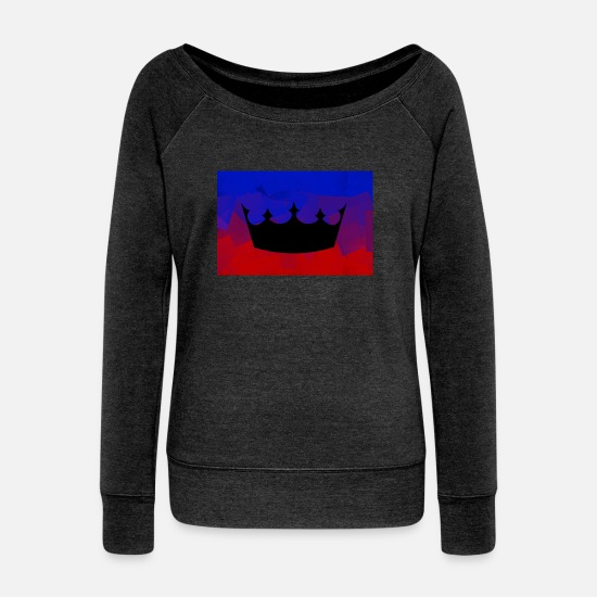 Wealth Long sleeve shirts - The crown that suits you! - Women's Wide-Neck Sweatshirt heather black