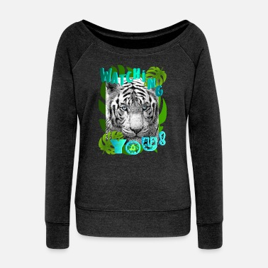 TIGER GLARE - Women's Wide-Neck Sweatshirt