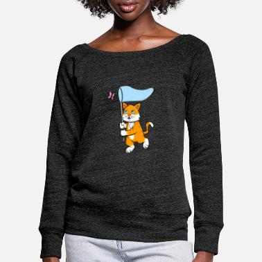 Meshes Cat butterfly mesh - Women's Wide-Neck Sweatshirt