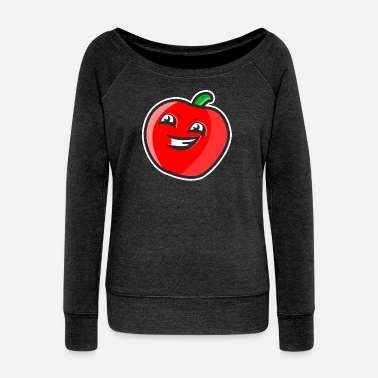 Apple with face - Women's Wide-Neck Sweatshirt