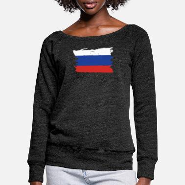Russia Russian flag gift - Women's Wide-Neck Sweatshirt
