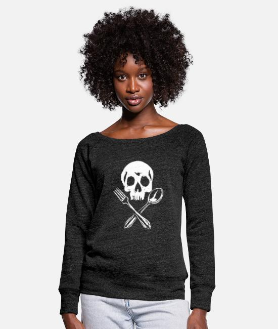 Lunch Long sleeve shirts - Skull cutlery - Women's Wide-Neck Sweatshirt heather black