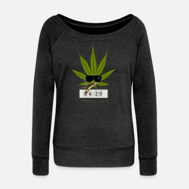 Comics Weed 420 Stoner Shirt - Women's Wide-Neck Sweatshirt