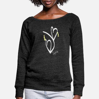 Double heart - Women's Wide-Neck Sweatshirt