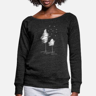 Bird Trees with birds - Women's Wide-Neck Sweatshirt