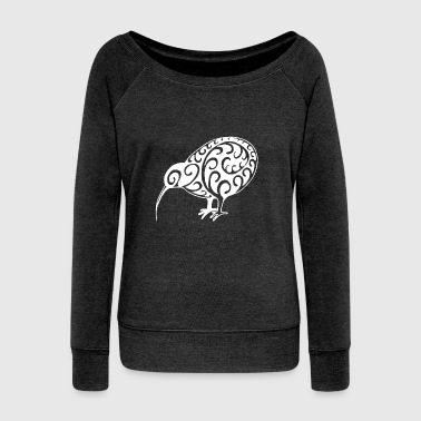 New Zealand: Kiwi in white - Women's Boat Neck Long Sleeve Top