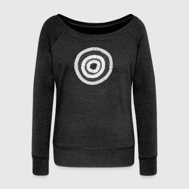 Painted circle design white 001 - Women's Boat Neck Long Sleeve Top