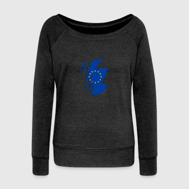 Scotland Map with EU Flag - Women's Boat Neck Long Sleeve Top