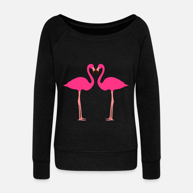Flamingo Långärmade T-shirts - Flamingo, Flamingos, Flamingoes and Heart - Tröja för dam med båtringning svart