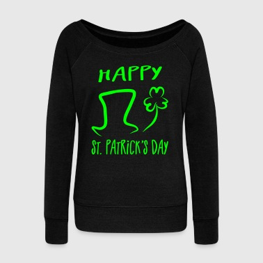 Hat Shamrock Happy St. Patrick's Day - Women's Boat Neck Long Sleeve Top