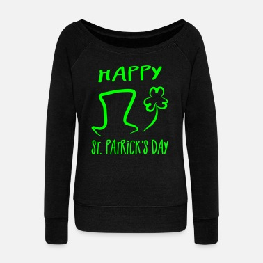 St Patricks Day Hat Shamrock Happy St. Patrick's Day - Women's Boat Neck Long Sleeve Top