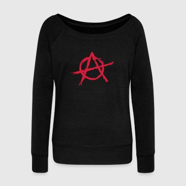 Anarchy symbol chaos rebel revolution punk fighter - Bluza damska Bella z dekoltem w łódkę