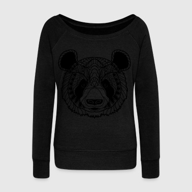 Cute Panda Face Illustration - Bluza damska Bella z dekoltem w łódkę
