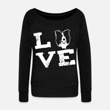 Border Collie LOVE - Border Collie - Bluza damska Bella z dekoltem w łódkę
