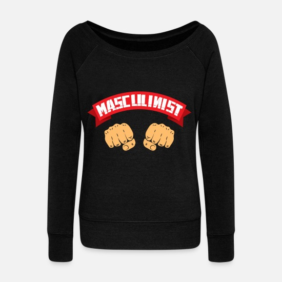 Birthday Long sleeve shirts - masculinist masculine gift - Women's Wide-Neck Sweatshirt black
