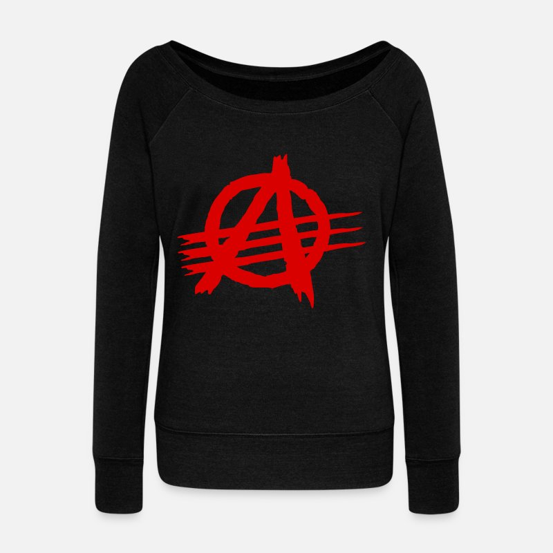 Anarchy Long Sleeve Shirts - AGaiNST ALL AuTHoRiTieS - Women's Wide-Neck Sweatshirt black