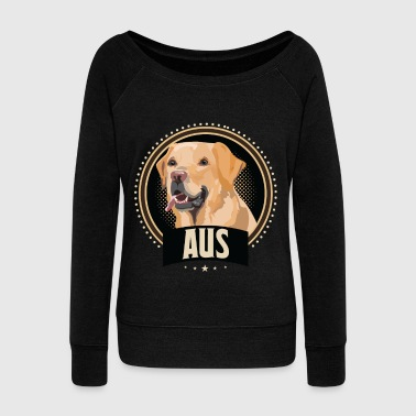 Labrador Golden Retriever Dog Dog Dog School Wuff - Women's Boat Neck Long Sleeve Top