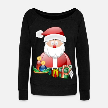 Christmas Santa Scene 3 - Women's Boat Neck Long Sleeve Top