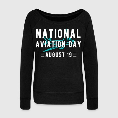Aviation pilot airplane flying gift - Women's Boat Neck Long Sleeve Top