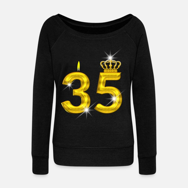 Birth Long Sleeve Shirts - 35 birthday - Crown - candle - gold - Women's Wide-Neck Sweatshirt black