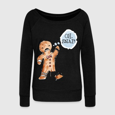 Gift Christmas oh snap gingerbread man - Women's Boat Neck Long Sleeve Top