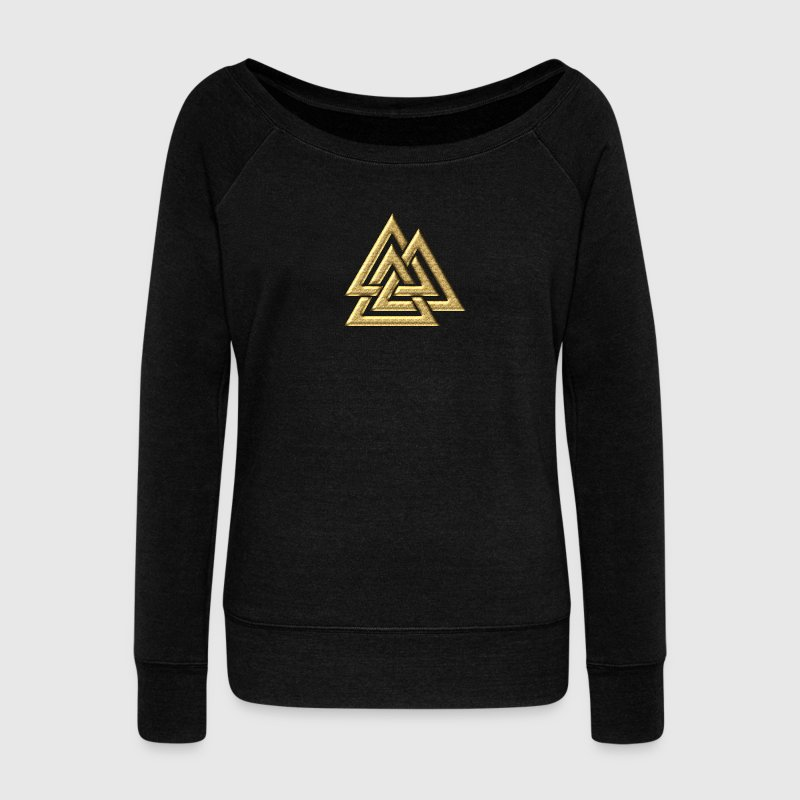 Valknut, Wotan's Knot, Walknot, Odin, Valhalla - Women's Boat Neck Long Sleeve Top