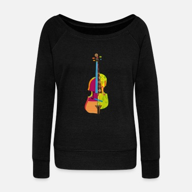 Violin A colorful violin  - Women's Boat Neck Long Sleeve Top
