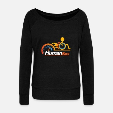 Disability Awesome Handicapped Disability Disabled Human Race - Women's Boat Neck Long Sleeve Top