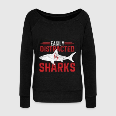 Distracted Animal Print - Distraction by sharks - Women's Boat Neck Long Sleeve Top