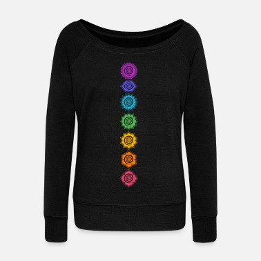 Yoga 7 Chakras, Kundalini, Cosmic Energy Centers - Women's Wide-Neck Sweatshirt