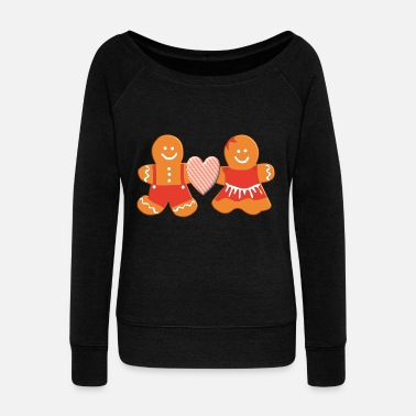Man Gingerbread man and gingerbread woman in love - Women's Boat Neck Long Sleeve Top