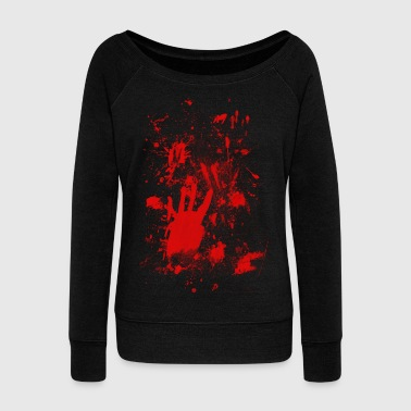 Splashes of blood / blood Smeared - Women's Boat Neck Long Sleeve Top