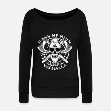 SONS OF ODIN - VALHALLA - VIKINGS GIFTS - Women's Boat Neck Long Sleeve Top