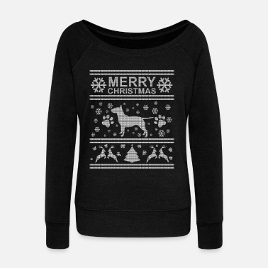 Bull BULL TERRIER WEIHNACHTSEDITION - Women's Boat Neck Long Sleeve Top