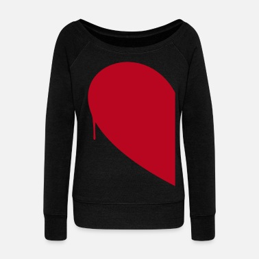 Couples Half Heart Woman - Women's Boat Neck Long Sleeve Top