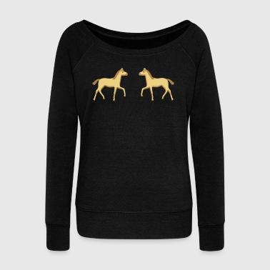 Foal two foals - Women's Boat Neck Long Sleeve Top
