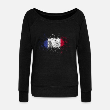 French Flag France flag gift french flag - Women's Boat Neck Long Sleeve Top
