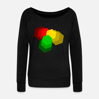 Dub Reggae red yellow green - Women's Boat Neck Long Sleeve Top