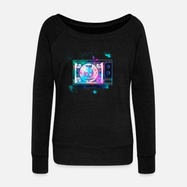 Television Television Television colorful - Women's Boat Neck Long Sleeve Top