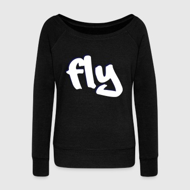 fly design vector graphic - Women's Boat Neck Long Sleeve Top