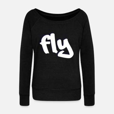 Graphic fly design vector graphic - Women's Boat Neck Long Sleeve Top